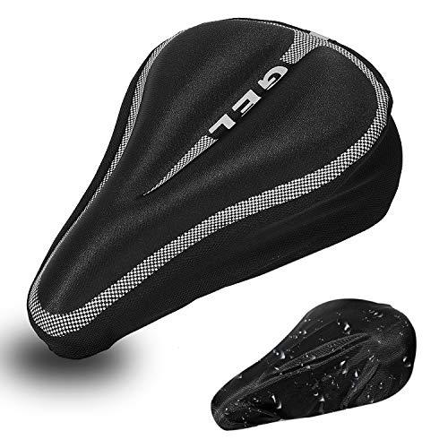 DEERU Gel Bike Seat Cover- Premium Quality Bicycle Saddle Pad, Extra Gel Cushion- Bike Saddle Cushion with Water & Dust Resistant Cover (Black)