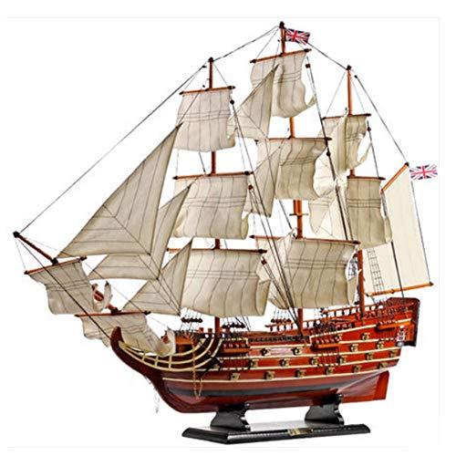 LYXin Großes Segelschiffmodell aus massivem Holz, das Royal Victory 80 cm glattes Segelboot zusammenbaut und dekoriert
