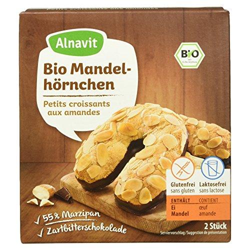 Alnavit Bio Mandelhörnchen Marzipan Gebäck mit Zartbitterschokolade, 150g