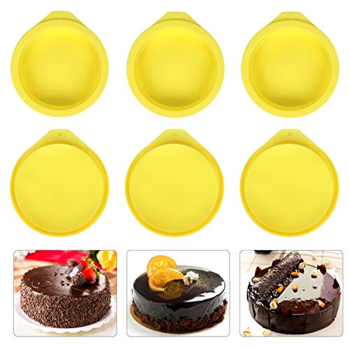 Silicone Cake Molds 4 Inch Round Cake Pans DIY Rainbow Layer Cakes Baking Mold Silicone Baking Pan Set for Cake Pancake Taco Shell Pizza Crust Omelet Frittata and Resin Craft, Set of 6, Yellow