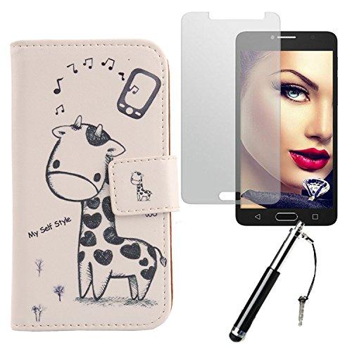 Lankashi Giraffe 3in1 Set PU Flip Leder Tasche Für Alcatel One Touch Pop 4S 5.5