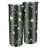 Vaso duradero de araña verde de Halloween con tapa y pajita de acero inoxidable flaco taza de café simple adecuado para portavasos de coche blanco 600 ml (20 oz)