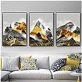 YuanMinglu HD Print Cartel de Enlace Negro y Dorado geométrico Abstracto decoración de montaña Imagen de Arte de Pared Sala de Lienzo sin Marco 50x70 cm