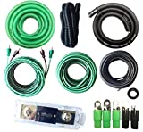 0 Gauge Amp Kit True AWG Amplifier Install Wiring 0 Ga 20 Ft Power Cable, 5500W