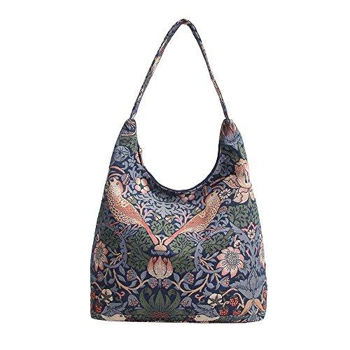 Signare Tapestry Arazzo Arazzo Borsa a Tracolla Donna, Borse Tote per Donne, Hobo bags con William Morris Designs (Strawberry Thief Blue)