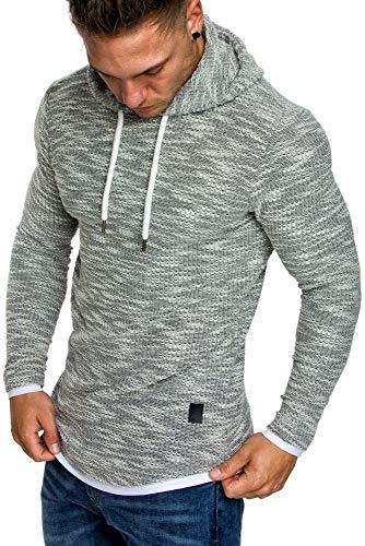Amaci&Sons Herren 2in1 Kapuzenpullover Hoodie Sweater Pullover Sweatshirt 4013 Grau M