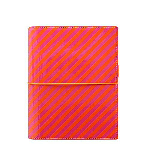 Filofax 22574 Terminplaner, A5 Domino Patent, orange/rosa Stripes