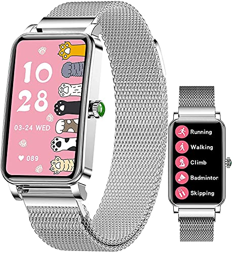 PKLG Adecuado para Android IOS relojes inteligentes mujeres, rastreadores de fitness con monitoreo de frecuencia cardíaca y presión arterial, monitoreo del sueño, podómetro relojes (plata a)