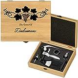 Murrano Weinöffner-Set personalisiert Weinset Sommelier Set - Geschenkbox Holzbox + 6er Weinzubehörset - aus Bambus - Braun - Geschenk Hochzeit Hochzeitstag Paar - Weintraube
