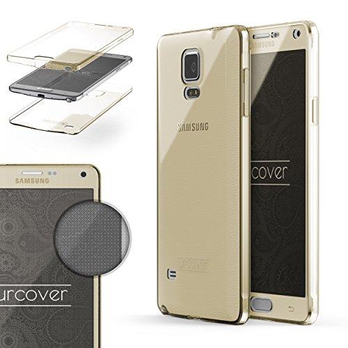 Urcover TPU Ultra Slim 360 Grad Hülle kompatibel mit Samsung Galaxy Note 4 Handyhülle Schutzhülle Hülle Cover Etui Champagner Gold