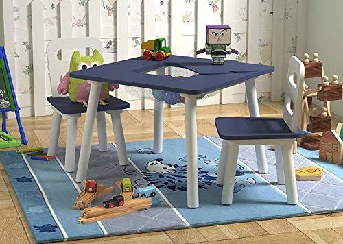 Pidoko Kids Table 2 Chairs Set Storage - Blue/White
