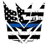Evan Decals Thin Blue Line Tattered Flag Decepticon Transformers Decal Vinyl Sticker 6'