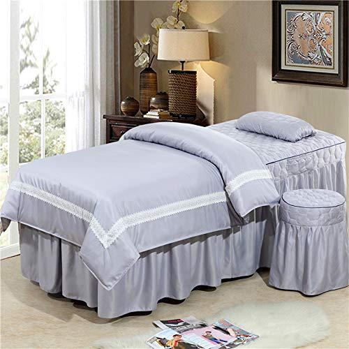 Wasbare Tencel Lace Style Beauty Salon beddengoedset massage spa met dekbedovertrek bed rok quilt laken