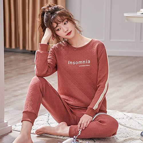 DFDLNL Pijamas Finos Acolchados para Mujer, Pijamas de 3 Capas, Ropa de Dormir de Manga Larga, Traje de Pijama para Mujer, Conjunto de Dos Piezas para Dormir, Ropa de Estar L.