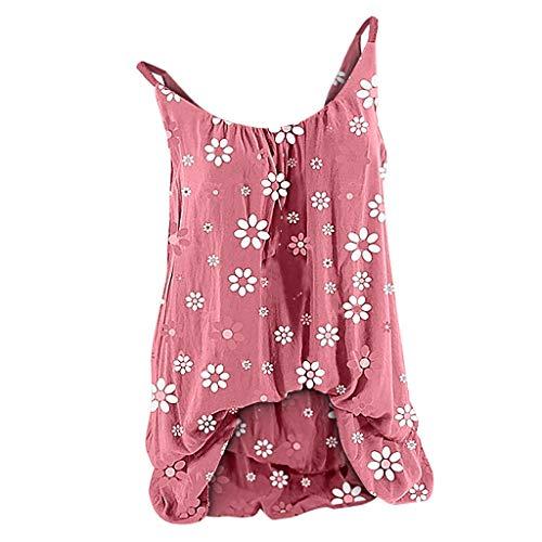 Auifor Floral Druck Weste Tops, Damen O-Ausschnitt ärmellose T-Shirt Camisole Tops Blusen