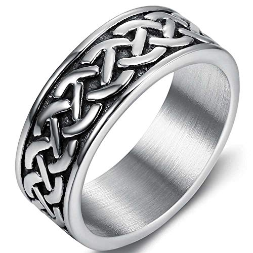 Jude Jewelers 8mm Stainless Steel Vintage Style Celtic Knot Wave Wedding Band Ring (Silver, 8)