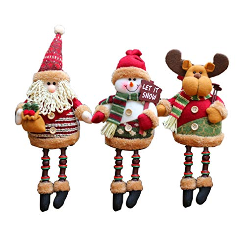 Amosfun - Peluche di Natale seduto a gamba lunga, Babbo Natale, pupazzo di neve, renna per le vacanze, decorazione da scrivania, pelucchi, Elk Pupazzo di neve Babbo Natale, 33 * 14 * 7cm