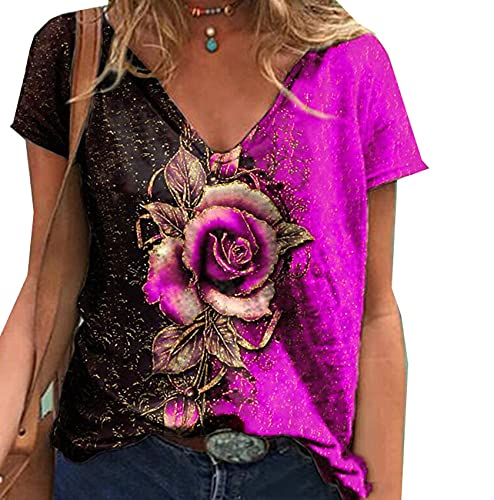 Frauen Neue Sommer V-Ausschnitt 3D Musterdruck Kurzarm Lose T-Shirt Bluse