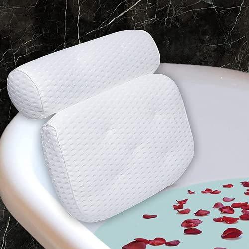 Lactraum Premium Badewannenkissen Bade- & Spakissen mit 4D-AirMesh-Textil und Saugnäpfe Kopfstütze und Rückenlehne Komfort Nackenkissen für Home Spa Whirlpools
