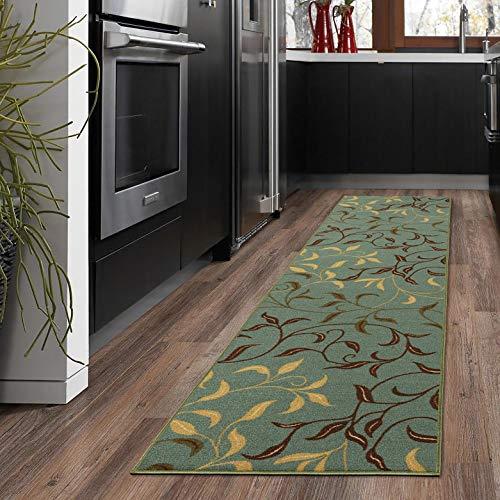 "Ottomanson Otto Home Contemporary Leaves Design Modern Area Rug Hallway Runner, 2'7"" X 9'10"", Sage Green/Aqua Blue"
