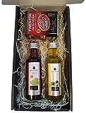 Estuche Gourmet con Pimentón de la Vera Aceite de Oliva Virgen Extra 100 ml en cristal y Botella de Vinagre de Jerez 100 ml en Caja Negra
