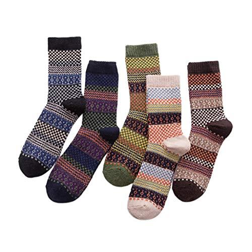 MIKI-Z 5 Pares de Calcetines de Cachemira de Lana para Hombre cálido Invierno Grueso Negocio Vintage cómodo