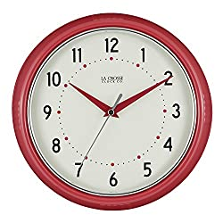 La Crosse Technology 404-2624R La Crosse 9.5 Inch Round Red Retro Diner Analog Wall Clock