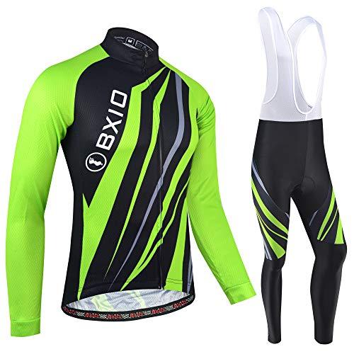 BXIO Winter Radtrikot für Herren, Herbst Fahrradbekleidung Full Zipper MTB Radbekleidung Langarm und Trägerhose 185 (Winter(185,bib Tights,Green), XL)