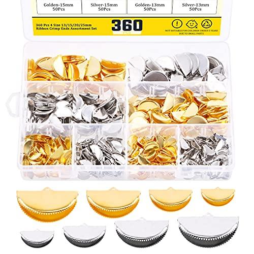 MARDATT 360 PC 절반 라운드 리본 코드 크림프 엔드 팁 모듬 된 세트 13 | 15 | 20 | 25MM 리본 가죽 엔딩 팔찌 DIY 쥬얼리 만들기 (금색과 은색)에 대 한 루프와 함께 팔찌 북마크 코드 모자 CLASPS