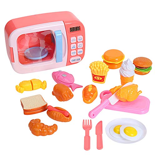 31 Pieces Electric Multifunctional Microwave Kitchen Play Toy with Lights and Sounds Set Kids Pretend Play Oven Including Cut Play Food Kitchen Playset Accessories for Toddlers Ages 3 and Older (Pink)