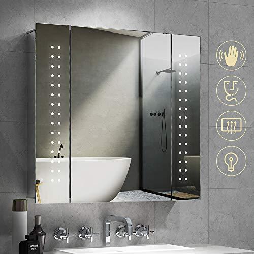 Quavikey LED Spiegelschrank Aluminium Badezimmer Spiegelschrank mit Beleuchtung Lichtspiegelschrank Rasier Steckdose Antibeschlag IR-Sensor Schalter 65x60cm
