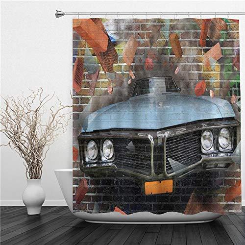 AIMILUX Duschvorhang,Autos Graffiti gekennzeichnetes grafisches abstürzendes Automobil auf Einer Backsteinmauer unterirdischen Straßenart,Duschvorhang Wasserabweisend