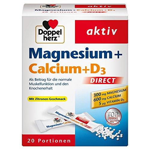 Doppelherz Magnesium + Calcium + D3 DIRECT – Nahrungsergänzungsmittel mit Zitronen-Geschmack – Für die normale Muskelfunktion – 1 x 20 Portionen Micro-Pellets