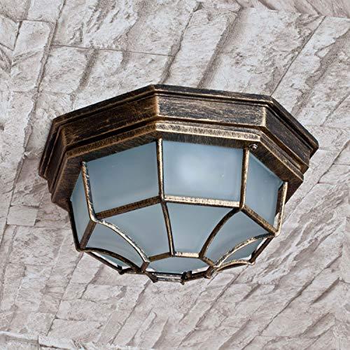 *Außendeckenleuchte Milano Goldantik E27 1x MAX 100W Glas Metall Beleuchtung außen Eingang Haus Balkon*