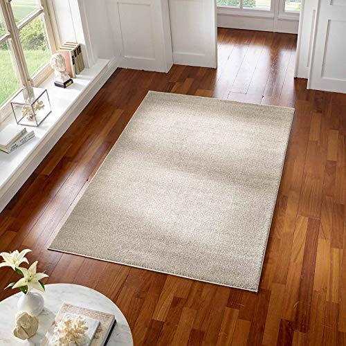 Taracarpet Teppich Kurzflor modern für Wohnzimmer Schlafzimmer und das Kinderzimmer super weich und Öko Tex Zertifiziert Weiss 080x150 cm