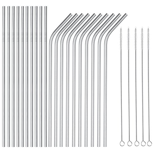 OKGD wholesale Set of 25 Stainless Steel Straws Ultra Long 10.5 Inch Drinking Metal Straws Reusable Drinking Straws for 20 30 OZ (10 Straight | 10 Bent | 5 Brushes)