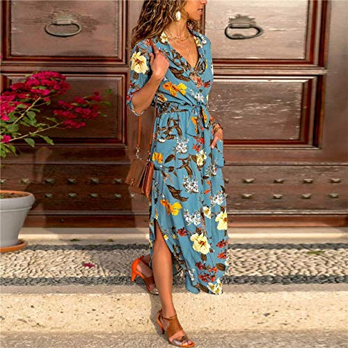 NVDKHXG Vrouwen lange jurk Bloemenprint Zomer Maxi Bohemian strandjurk Elegante feestjurk Lange mouw Office overhemdjurk Vestidos Longo