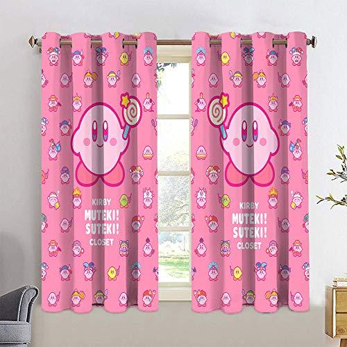 Polyester-Vorhänge für Jugendzimmer, super Duper, Kirby Star, Kirby Stern, wärmeisoliert, verdunkelnde Vorhänge für Jungenzimmer
