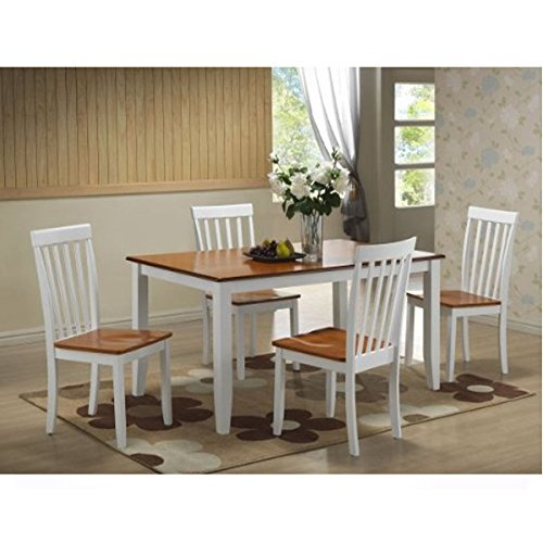 Boraam 5-Piece Bloomington Dining Room Set, White/Honey Oak