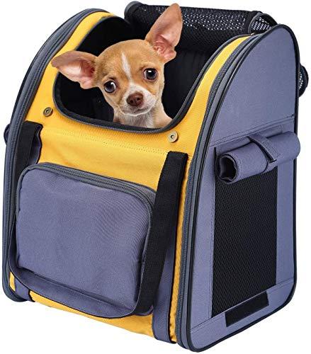 Mochilas para mascotas salen bolso del perro transpirable portátil Mascota Mochila for Perros Gatos cachorros Carry conejito, mascota bolsa con ventilado de diseño, cortinas a prueba de sol, dos caras