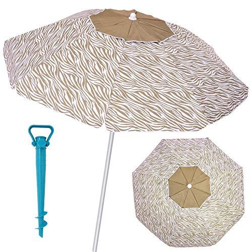 LOLAhome Pack sombrilla de Playa antiviento de Ø 180 cm marrón de Fibra de Vidrio y Aluminio, y Soporte
