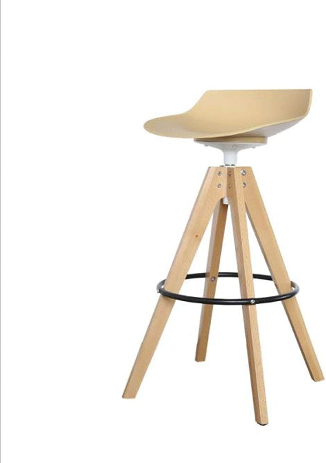 Bar Stools, Nordic Solid Wood Bar Chair Simple High Chair Can Be 360° redating Bar Chair Front Desk Leisure Bar Stool (color   Khaki, Size   75CM)