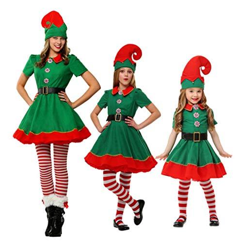 JOMA E-Shop - Disfraz de Elfo de Navidad para Mujer, Sombrero, Calcetines y cinturón de muñeca