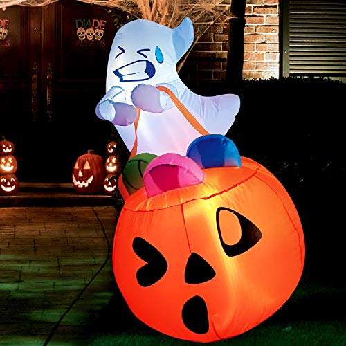 Joiedomi 5 FT Tall Halloween Inflatable Cute Ghost Inflatable Lift Pumpkin Candy Bag with Build-in LEDs Blow Up Inflatables for Halloween Party Indoor, Outdoor, Yard, Garden, Lawn Decorations