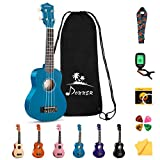 Donner Soprano Ukulele Beginner Kit for Kid Adult Student with Online Lesson 21 Inch Ukelele Bundle Bag Strap String Tuner Pick Polishing Cloth, Rainbow Series-Blue Color DUS-10B