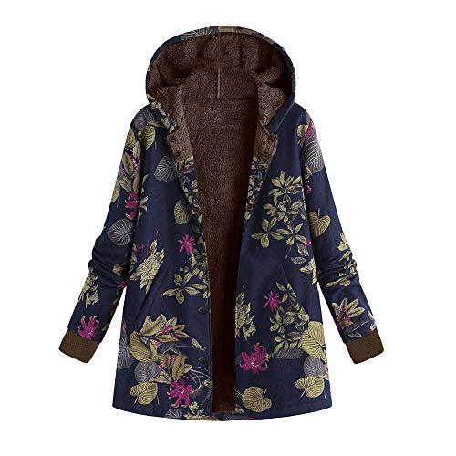 Kanpola Winterjacke Damen Jacke Steppjacke Winter Warme Gedruckte Outwear Frauen Kapuzenjacke Parka Jacke Langram Sweatjacke mit Kapuze Mantel (EU-48/CN-5XL, A06-Marine)