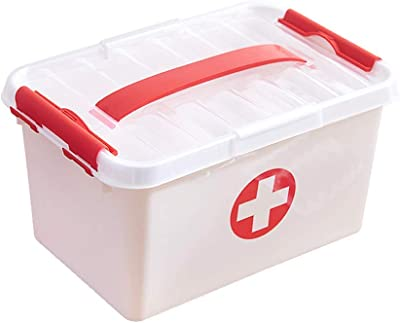 ADTALA Multi-Layer Plastic Medicine Box Storage (White, 7.5 x 11 x 6 Inch)