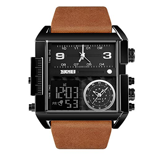 SKMEI Men's Digital Sports Watch, LED Square Large Face Analog Quartz Wrist Watch with Multi-Time Zone Waterproof Stopwatch (Black Brown)