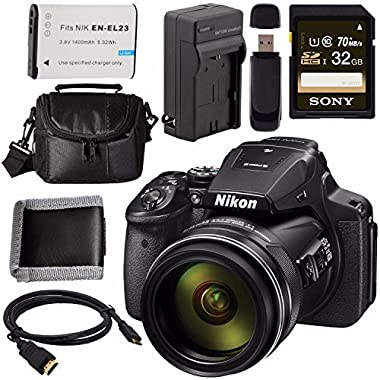 Nikon COOLPIX P900 Digital Camera 26499 + EN-EL23 Lithium Ion Battery + External Rapid Charger + Sony 32GB SDHC Card + Small Case Bundle