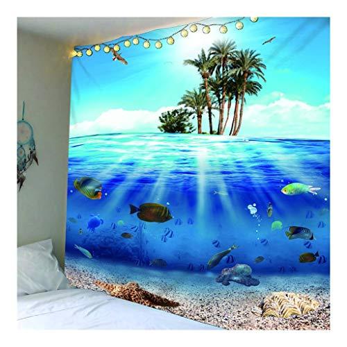 Jue Decoración for la Pared Tapiz Beach tapicería de la Pared for el Dormitorio Living Dormitorio de Pared décoración Tapices (Azul) zxy (Color : A, Size : 150 * 210cm)